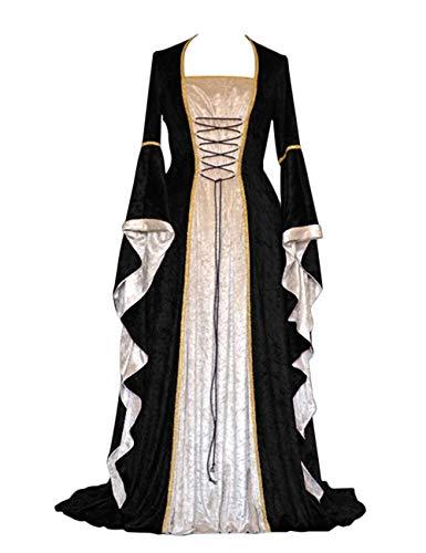 Effeltch Womens Retro Halloween Costume Renaissance Medieval Dress Lace Up Irish Over Long Dresses (Black, X-Large)