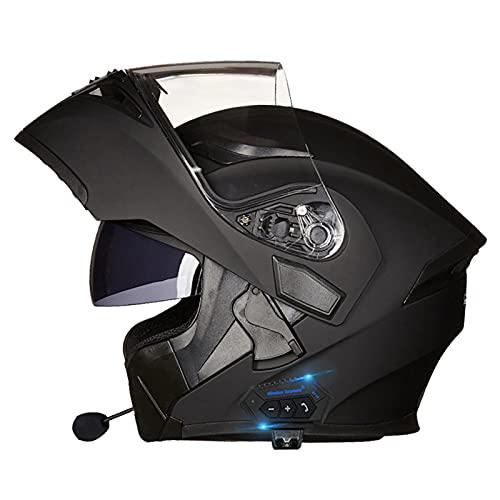 Bluetooth Casco Moto Donna Uomo, Modulare Casco Moto con Doppia Visiera, Casco Moto Scooter Integrale con Speaker Integrato Microfono, Certificazione ECE (Color : H, Size : XXL=(63-64CM))