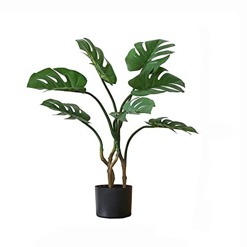 árbol de pino artificial artificial bonsai Árbol de monstera artificial, hoja de imitación de la tortuga falsa hoja de imitación de árboles tropicales, plantas artificiales para la decoración de la of