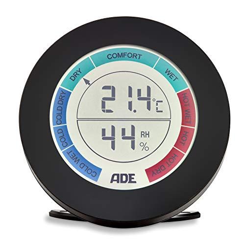 ADE Digitales Thermo-Hygrometer WS 1831 (Elektronisches Thermometer mit LCD-Display, Komfort-Anzeige, 9,2 cm Durchmesser) schwarz