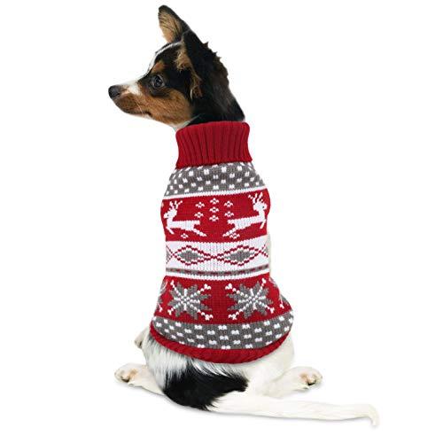 Idepet Hundekostüm Weihnachten, Welpe Hund Katze Strickpullover Sweater Weihnachten Rentier Jumper Haustier Kostüm Mantel Rot M (3XL, Rot)