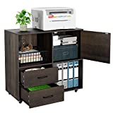 HOMECHO File Cabinet Mobile Lateral Filing Cabinet with Wheels, Large Modern Printer Stand...