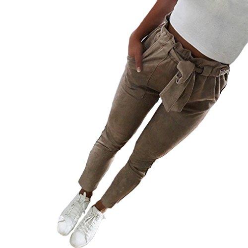 Minetom Damen-Beiläufige Gestreifte Hohe Taillen-Hosen-Elastische Taillen-Beiläufige Hosen Khaki X-Small