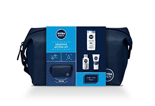 NIVEA MEN Sensitive Set para la piel sensible incluyendo los productos NIVEA MEN Hidratante Protector 75 ml, Bálsamo Piel & Barba 125 ml, Gel de Ducha 250 ml y un neceser gratis