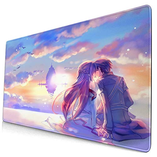 Large Extended Gaming Mouse Pad Sword Art Online Kirito Asuna Anime with Stitched Edge Durable Mousepad Desk Mat Non-Slip Desk Pad for Computer Laptop Work Consoles