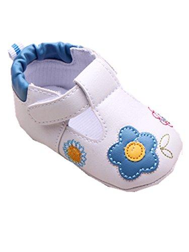 YICHUN Bébé Fille Chaussures de Premier Pas Fleur Chaussures de Loisir Chaussures Souple (Longueur de Semelle :11cm/4.3 pouces, Bleu)