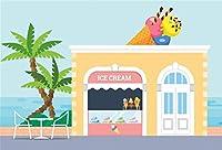 新しい海辺のアイスクリームショップの背景7x5ftの子供の誕生日パーティーの写真の背景ベビーシャワーの装飾生まれたばかりの赤ちゃんの肖像画漫画の海の風景ケーキテーブル画像booth小道具デジタル壁紙