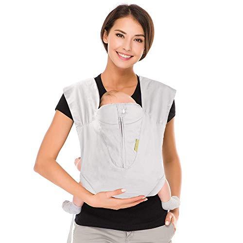 CUBY-Babytrage (3 bis 20kg) Ergonomische Babytragetasche,X-Type Bauchtrage praktische Babytrage (Grau) (Klassisches Grau)