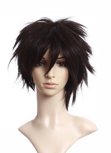 Prettyland Perruque Chataîn Marron Brun Courte Homme Femme Manga Cosplay Farfelu Sauvage Wig Authentique C056