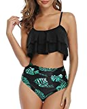 Tempt Me Women Ruffle High Waisted Bikini Black Leaf Two Piece Swimsuits Ruched Bathing Suit M
