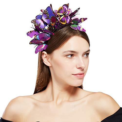 Coucoland Schmetterlings Fascinator Haarreif Damen Blumen Schmetterling Stirnband Haarband Englische Tee Cocktail Party Damen Fasching Karneval Kostüm Haar Accessoires (Violett)