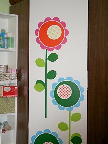 IKEA Wandaufkleber Slätthult Deko-Sticker / Wand-Tattoo mit Vier riesigen bunten Blumen - einfach anzubringen - Wieder ablösbar