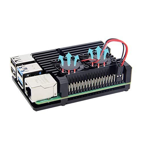 Raspberry Pi 4 Armure Cas Radiateur avec Double Ventilateur, raspberry Pi 4B En Alliage aluminium Cas De Refroidissement Passif pour Raspberry Pi 4 Modèle B Seulement (Pi 4B Case with Dual Fan)