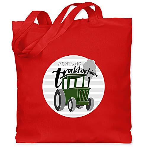 Shirtracer Fahrzeuge Kind - Achtung Traktorfahrer - Unisize - Rot - Traktor - WM101 - Stoffbeutel aus Baumwolle Jutebeutel lange Henkel