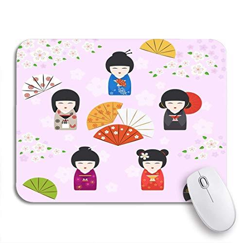 Gaming mouse pad japanische geisha kokeshi puppen kirschblüten fans und regenschirm rutschfeste gummi backing computer mousepad für notebooks maus matten