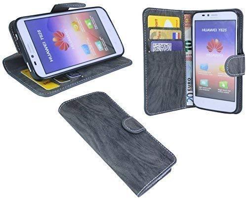 ENERGMiX Buchtasche kompatibel mit Huawei Ascend Y625 Hülle Case Tasche Wallet BookStyle mit Standfunktion Anthrazit