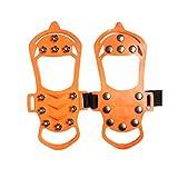 IMIKEYA 1 par de Clavos de Zapato de Silicona Antideslizante Tacos de Tracción Crampones Nieve Agarres de Hielo Protegen Los Zapatos Cubren para Caminar Caminar Escalar Pesca en Hielo Al Aire Libre (Tamaño Xl Naranja)
