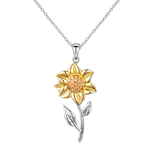 DAOCHONG Sterling Silver Sunflower Pendant Necklace CZ Dancing Flower Inspirational Necklace,Chain 18''