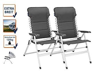 Lot de 2 chaises de camping XXL rembourrées - Pliables et légères - Fauteuil de relaxation confortable