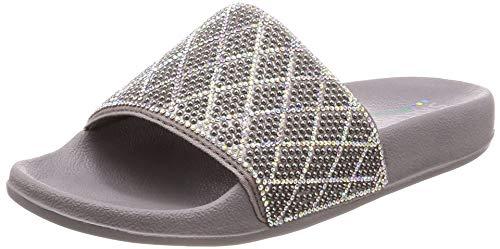 Skechers Damen Pantoletten/Badeschuhe POP UPS Dazzle Razzle Grau, Schuhgröße:EUR 36