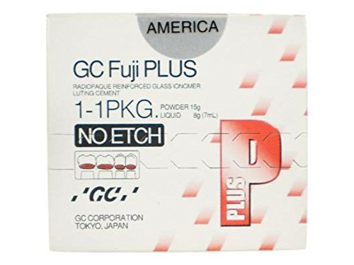 GC America 431101 Fuji Plus Resin Modified Glass Ionomer Luting Cement No Etch Package, Includes 1 x 15 g Powder, 1 x 7 mL Liquid and Accessories