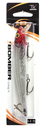 Bomber Arrêtant Pro Long d'un Leurre de pêche, Mixte, B15APXSI04, Silver Flash/Red Head, 4 5/8-Inch, 9/16-Ounce