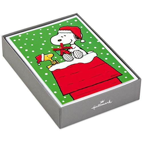 Hallmark PX2312 Snoopy and Woodstock Gift Giving Boxed Christmas Cards
