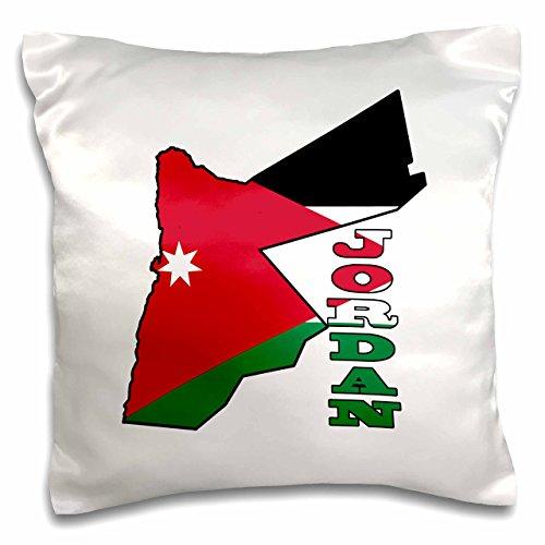 3dRose pc_185109_1 Kissenbezug mit Flagge von Jordanien & Landnamen Jordan, 40,6 x 40,6 cm