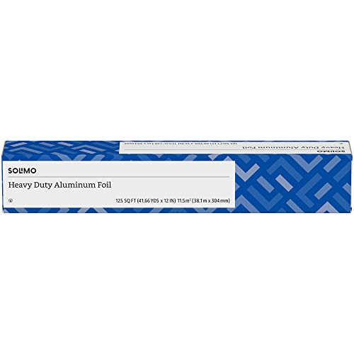 Amazon Brand - Solimo Heavy Duty Aluminum Foil, 125 Square Foot Roll (Pack of 1)