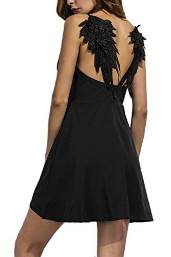 Fanvans Alas de Encaje de Las Mujeres del arnés Delgado Vestido Black M