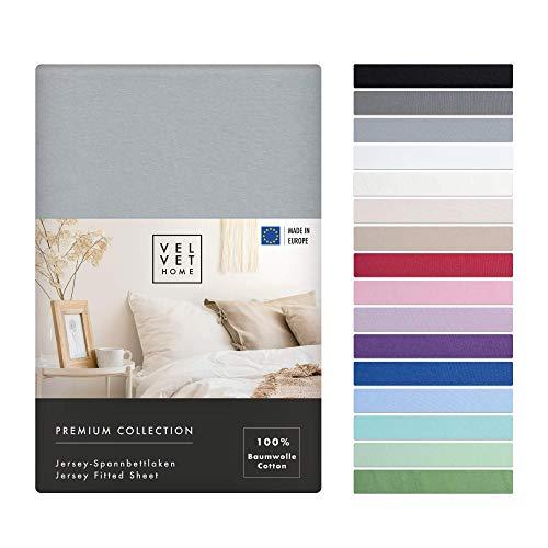 Spannbettlaken 120x200cm 165g/m2, Bettlaken 120x200 Baumwolle mit Einem Gummizug - von Premium Qualität / Spannbetttuch Jersey mit Schönen Farben (Hell-Grau, 120 x 200 +30)