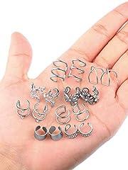 8 Pairs Stainless Steel Ear Cuff Non Piercing Clip on Cartilage Earrings for Men Women (Steel C + Flower Shape Style) #3