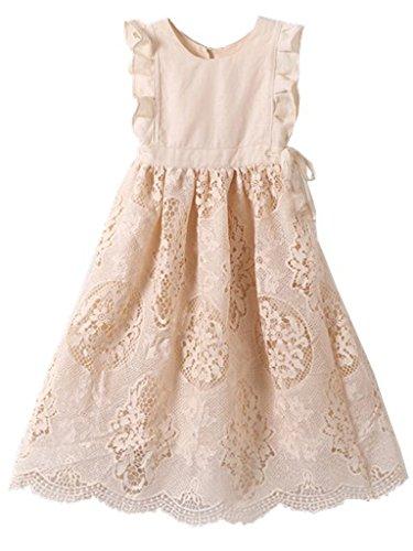 Bow Dream Flower Girl's Dress Vintage Lace Peach 4