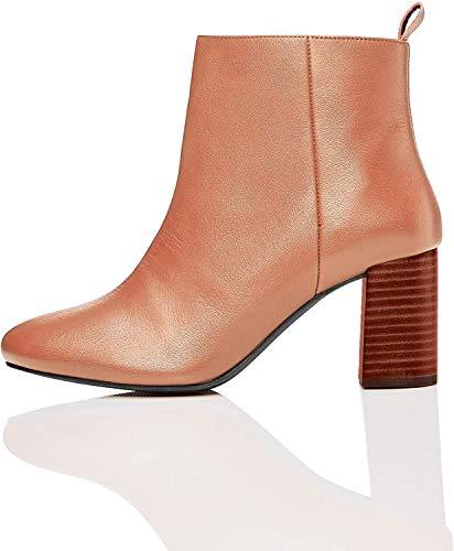 find. High Leather Ankle Botines, Marrón Brandy, 39 EU