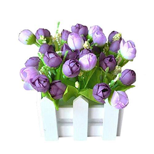 Flikool Roses Plantes Artificielle avec Clôture Fleurs Artificiel in Pot Truque Bonsai Decoration Ornements Maison Mariage Terrasse Saint-Valentin Deco 10 * 10 * 12cm - Violet