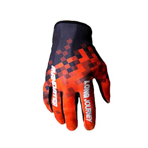 ShallGood Windundurchlässiger Wasserdichter Touchscreen Outdoor Sport Handschuhe Für Damen Herren Finger Schutz-Motorrad Reithandschuhe Rockstar Kletterhandschuhe Z1 Rot L