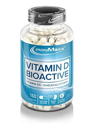 IronMaxx Vitamin D  – bioaktives Sonnenvitamin zur Nahrungsergänzung – hohe Bioverfügbarkeit und praktisch in der Dosierung – 1 x 150 Kapseln