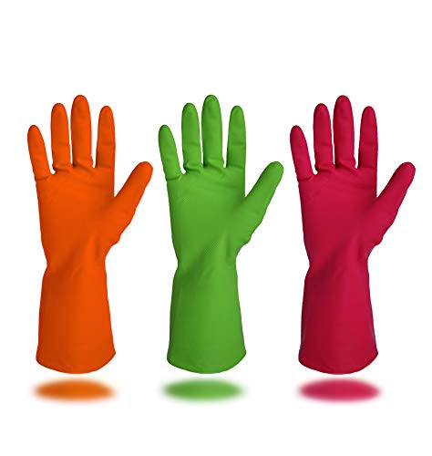 Cleanbear Synthetic Rubber Gloves, Medium Size,...