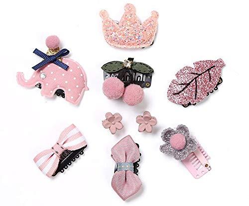 NOVAGO Lot de Barrettes pinces à cheveux fantaisie décoratives pour séance photo réussie de votre enfant bébé ou jeune fille (9 Pcs, Rose)