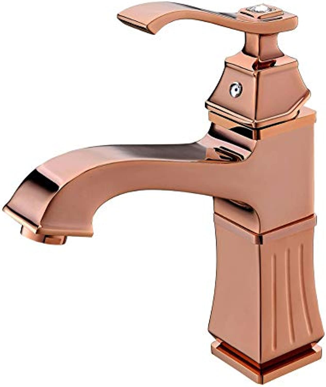 Pyty123-Faucet Wasserhahn Einzigen Griff Kupfer Becken RoséGold Europischen Retro-Waschbecken Heiem Und Kaltem Wasser Wasserhahn