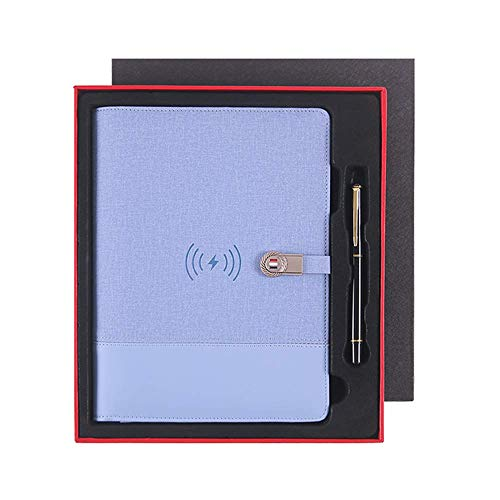 LIUDOU Wireless Charging Multifunctional Notebook Mobile Power Notepad Business Gift A5 Loose-Leaf Set Charging Treasure Notepad Creative Office Stationery Hand Ledger,b