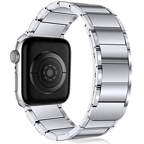 JUVEL Kompatibel mit Apple Watch Armband 38mm 40mm 42mm 44mm, Starkes Magnetisches Edelstahl Metall Ersatzglied Armbänder Kompatibel für Apple Watch SE/iWatch Series 6 5 4 3 2 1, 42mm/44mm Silber
