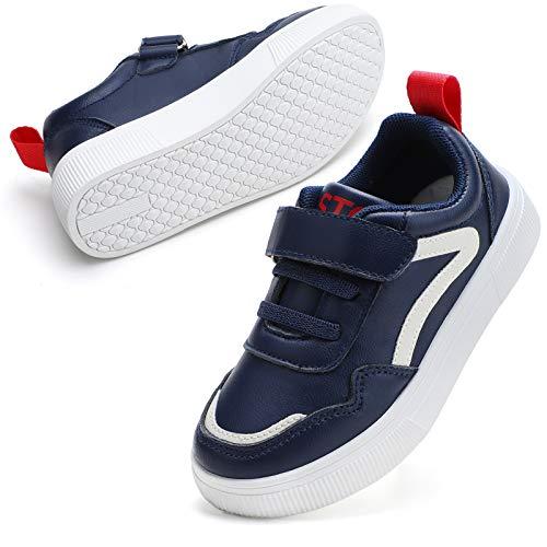 STQ Sportschuhe Jungen Hallenschuhe Klettverschluss Sneaker Leicht Laufschuhe Sport Fitnessschuhe Intdoor Schuhe Navy Blau 33 EU