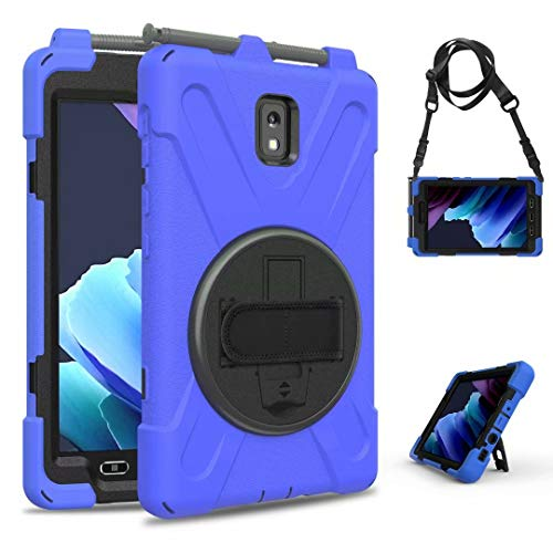 360° Rotating Case for Samsung Galaxy Tab Active 3-2020 SM-T570/T575 Heavy Duty Armor with Pencil Holder.Three Layer Structured Rotating Stand Shockproof Silicone+PC Case Cover (Blue)