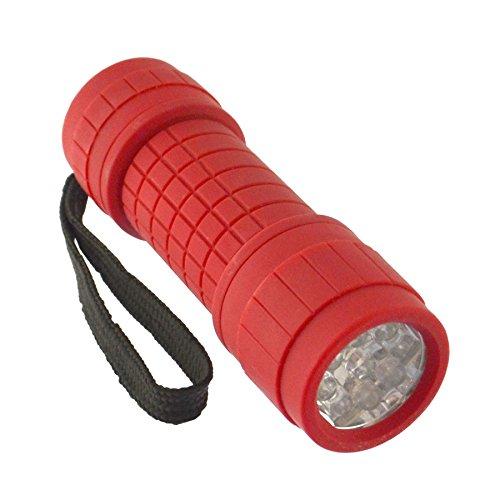 AB Tools Rouge 9 LED Mini Lampe Torche Torche lumière Camping Randonnées Caoutchouc boîte GAR69