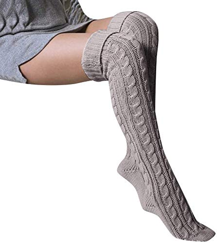 Zeaih 1 Paar Hoge Kousen, Vrouwen Winter Warm Gebreid Over Knie Dij Sokken Leggings, Hoge Panty Lange Stocking Sokken voor Vrouwen Meisjes