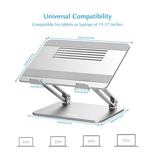 BoYata Laptopständer, Multi-Angle Laptop Ständer mit Heat-Vent, Verstellbarer Notebook Ständer Kompatibel für Laptops (11-17 Zoll) einschließlich MacBook Pro/Air, Lenovo, Samsung, HP(Silber)