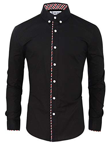 Tom's Ware Mens Fashion Casual Inner Plaid Long Sleeve Button Down Shirt TWNMS310S-A-BLACK-US S