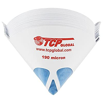 """TCP Global 50 Pack of Paint Strainers with Fine 190 Micron Filter Tips - Premium """"PURE BLUE"""" Ultra-Flow Blue Nylon Mesh - Cone Paint Filter Screen"""