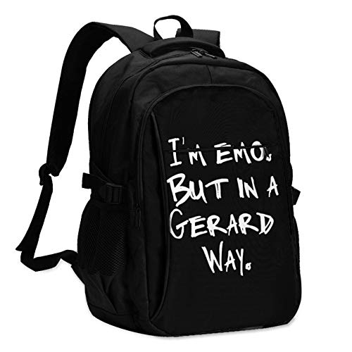 I'm Emo But in A Gerard Way Unisex Travel Laptop Backpack with USB Charging Port School Anti-Theft Bag